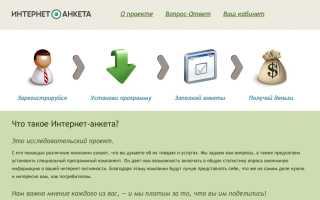 Личный кабинет Интернет-анкета Ру