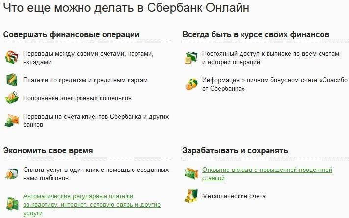 Функции личного кабинета Сбер банк Онлайн