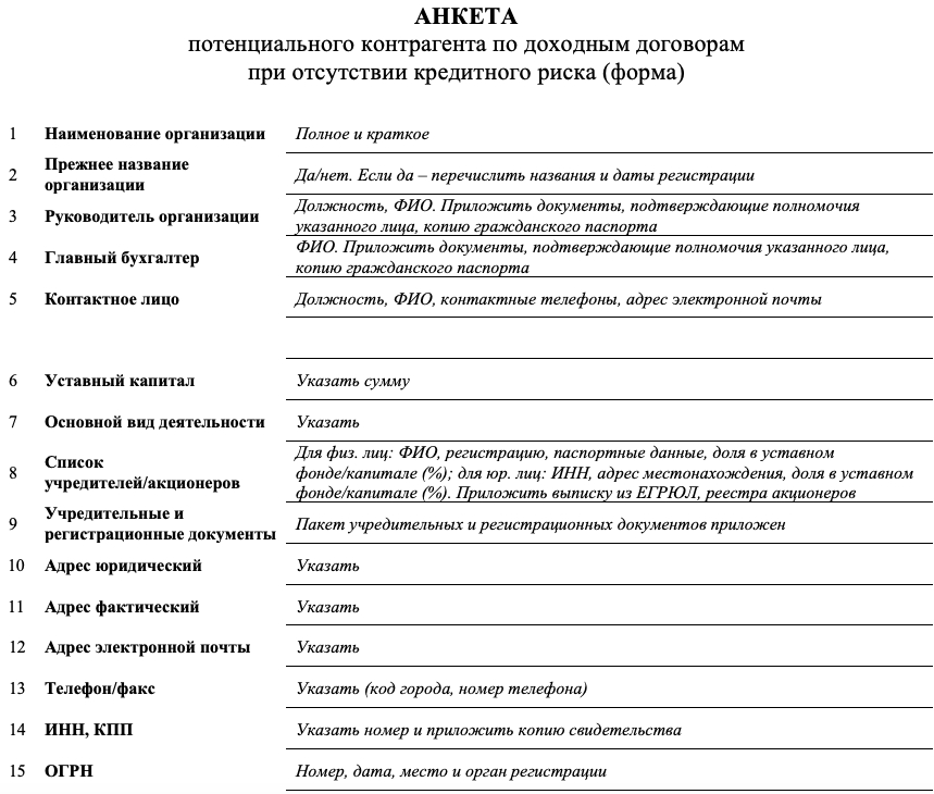 Образец анкеты заявки Хабаровскнефтепродукт