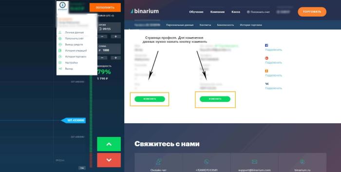 интерфейс личного профиля бинариум