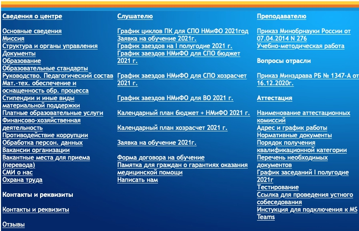 Функционал личного кабинета ГАУ ДПО РБ «Центр повышения квалификации»