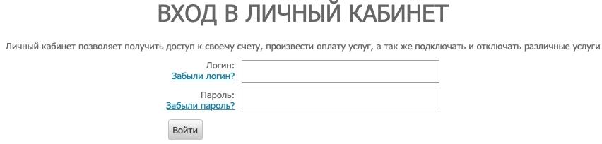 форма авторизации Видикон