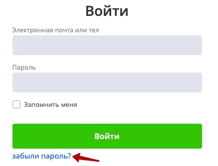 форма восстановления пароля Ворк 5
