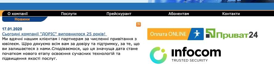 Функционал ЛК ДОРИС
